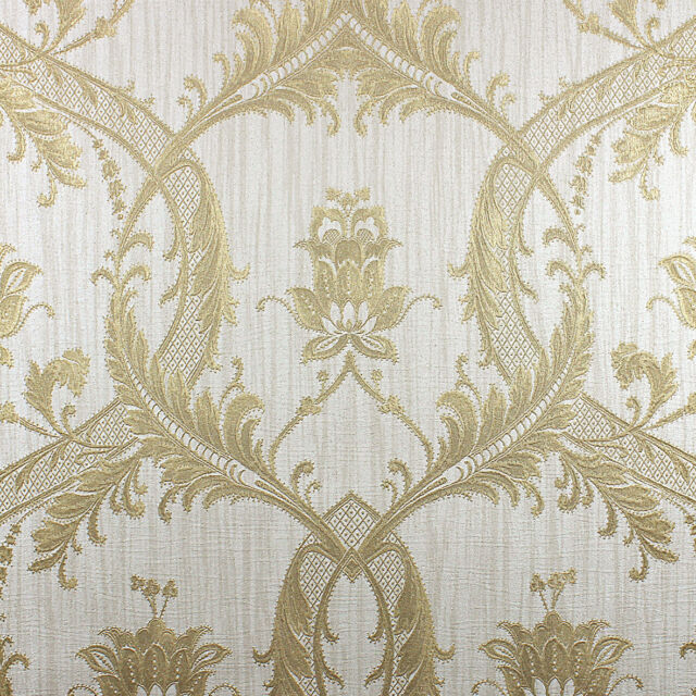 Milano Cream and Gold Damask Wallpaper Heavyweight Italian Vinyl M95559