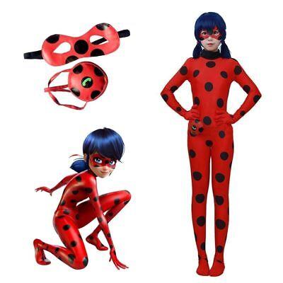 Kinder Mädchen Ladybird Ladybug Kostüm +Perück Overall Cosplay Mädchenkostüme