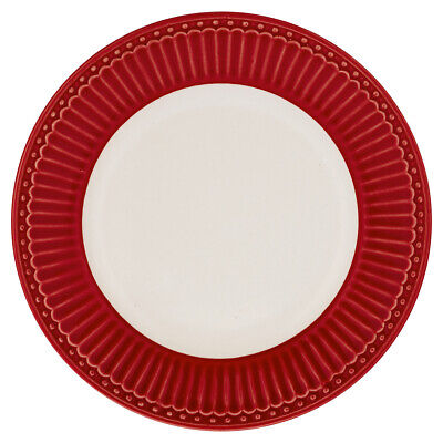 Greengate Plato Alice Rojo 17,5 para Torta Everyday Platos, Vajilla de Postre