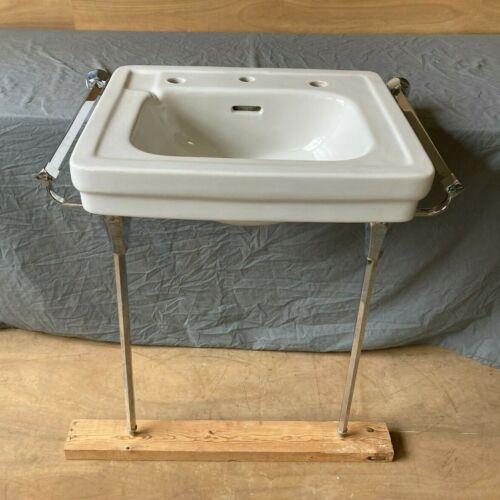 Vtg Mid Century White Porcelain Wall Sink Chrome Brass legs Towel Bars 70-21E