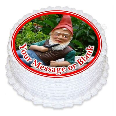 ND1 Garden Gnome Nome birthday personalised round cake topper icing