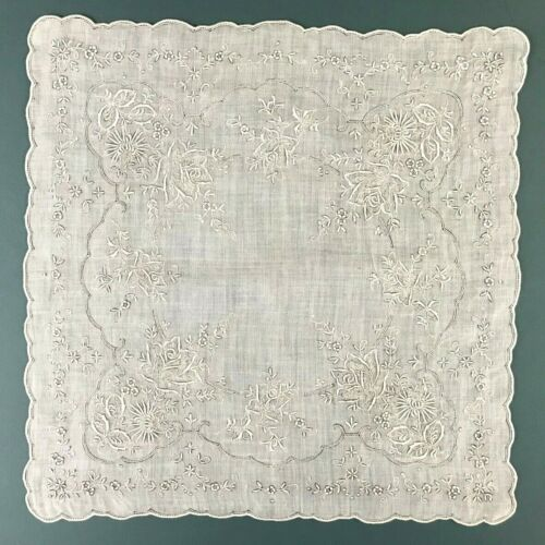 VTG Madeira Elaborate Embroidery Roses Floral White Bridal Wedding Handkerchief