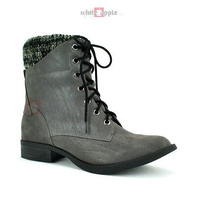 Women Combat Faux Leather Knit Cuff Ankle Booties Lace-up Lo