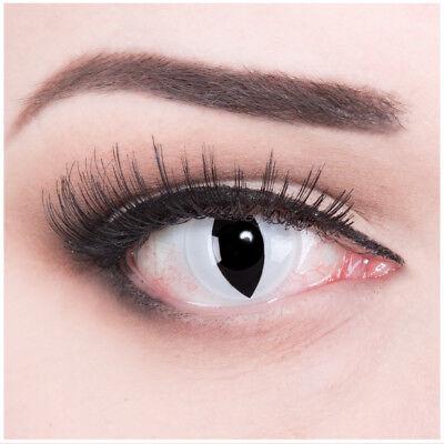 Crazy Fun Kontaktlinsen mit Stärke weiß schwarze Viper für Halloween Fasching (Schwarze Kontaktlinsen Für Halloween)