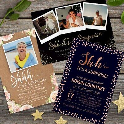 Surprise 18th 21st 30th 40th 50th 60th Birthday Invitations Personalised invites - 60th Birthday Invites