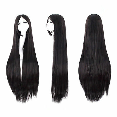 Straight Black Wig (80cm Long Black Straight Lace Front Wig Heat Resistant Synthetic Hair Full)