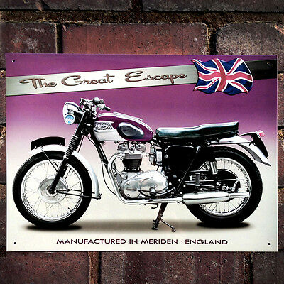 TRIUMPH TR6 650CC ENAMELLED METAL SIGN.VINTAGE BRITISH MOTORCYCLES,COLLECTABLE.