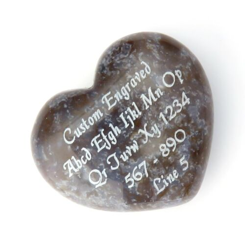Darker Agate Stone Puff Heart 40x35mm or 1.5 inches - Custom Engraved