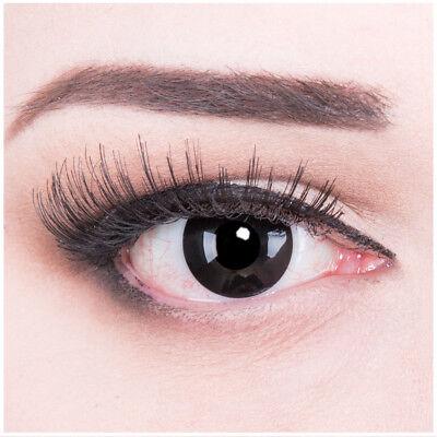 Crazy Fun Schwarz  Kontaktlinsen mit Stärke Black Out Behälter für Halloween