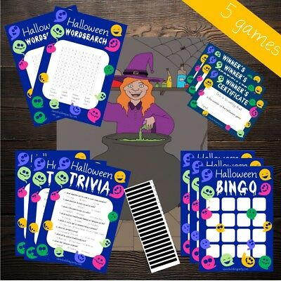 Halloween Words Search Games (Halloween Game 5 Pack - Bingo, Word search, Trivia, Pin the Witch, Certificate)
