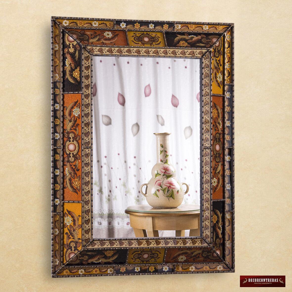 Extra Large mirror Decorative, peruvian painted glass, luxur