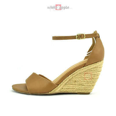 Women Open Toe Ankle Strap Espadrille Wedge Heel Sandals Del