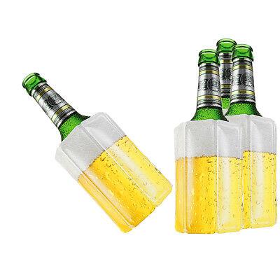 4 Stk Bier Wein Kühlmanschette Bierkühler Flaschenkühler Getränkekühler