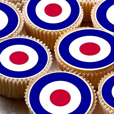 Target Cake Decorations (24 icing cake toppers decorations RAF Army targets paintball)