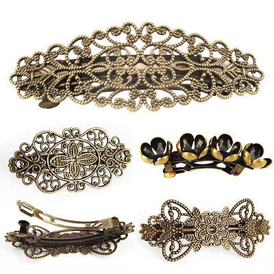 Vintage Haarklammer-Haarspangen-Bronzefarben Blume-Headwear