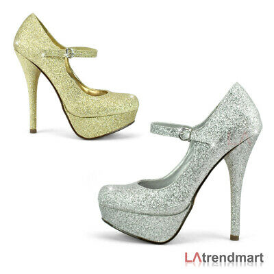Mary Jane Bridal Wedding Glitter Ankle Strap Platform Heel Round Toe Pump Zappa - Glitter Platform Mary Jane