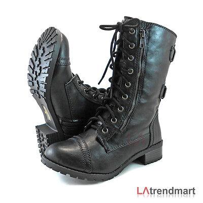 Black Mid Calf Boots - Women Military Combat Mid Calf Motorcycle Lace Up Boots Zipper Soda Dome Black