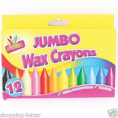 12 Jumbo Chunky Wax Crayons Bright Assorted Colours Kids School Children Crayons
