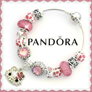 Pandora Charm Bracelet Silver Valentine with HELLO KITTY  Pink Cat Charm Dangle