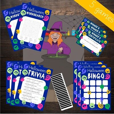 Halloween Games Multi Listing - Cute Ghost - Trivia Bingo Invites Charades etc!! - Halloween Bingo Games