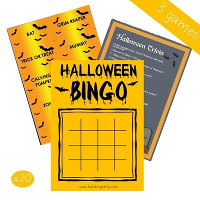 Halloween Party Bingo Games (Halloween 3 Game Deal Pack - Bingo Charades Trivia - 20 Player - Party Costume)