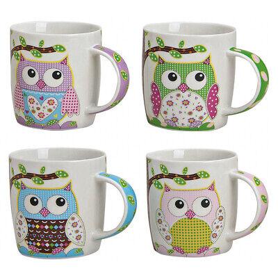 4er Set Kaffeetassen Eulen Tasse mit Henkel Kaffee Becher Cup Tee Pott Porzellan