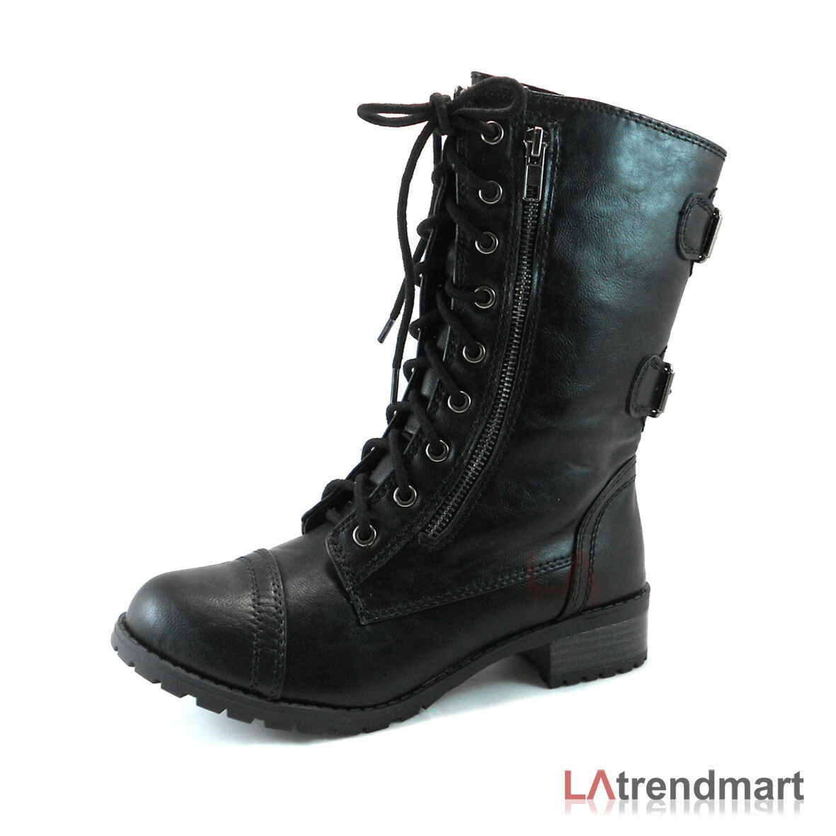 Military Combat Mid Calf Motorcycle Lace Up Women Boots Zipper Soda Dome Black