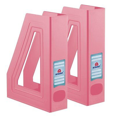 Acrimet Magazine File Holder Solid Pink Color 2 - Pack
