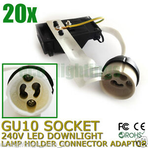 20-X-GU10-240V-LED-Downlight-Lamp-Holder-Socket-Connector-Adaptor-Fixture-Base