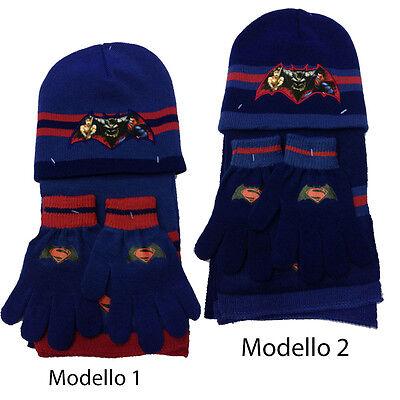Batman Set 3-teilig Hut + Schal + Handschuhe aus Wolle Heiß 2 Modelle Kinder ()