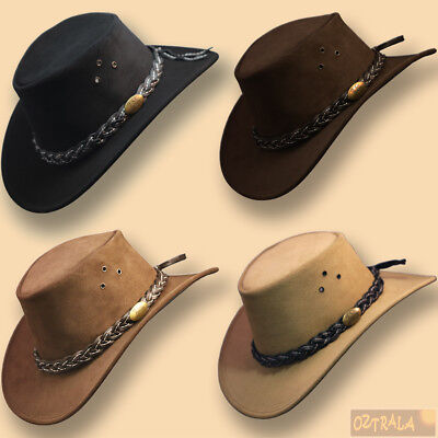 ~oZtrALa~ AUSTRALIAN Outback Suede LEATHER Hat Cowboy Mens Womens Childrens Kids](Children Cowboy Hats)