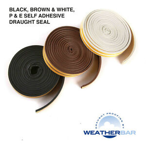 Weatherbar-Draft-Draught-Excluding-Rubber-Seal-P-or-E-Shape-Self-Adhesive-5M