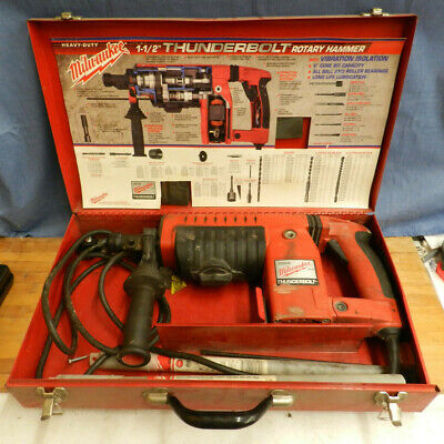 Milwaukee Heavy Duty Thunderbolt 1-12 Rotary Hammer With Extra Drillcore Bits