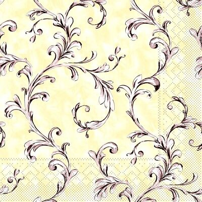 4 Single Lunch Paper Napkins for Decoupage Craft Napkin Beige Ivy Yellow