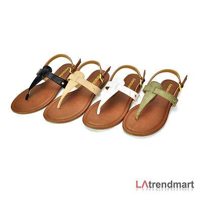 Women T Strap Flat Casual Sandal Shoe Classified Lotus Black White Natural Khaki