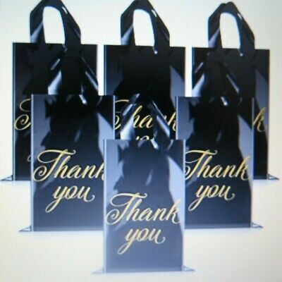 50 Black Thank You Merchandise Retail Reusable Shopping Bags 9 X 12