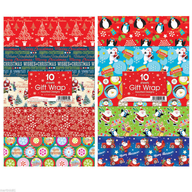 10 Assorted Christmas Gift Wrapping Paper Traditional & Cute