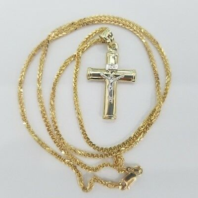 Real 10k Two Tone Gold Cross Crucifix Jesus Pendant Charm Wheat Franco Chain 20""