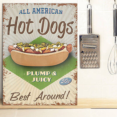 Hot Dogs Metal Wall Sign Kitchen American Diner Restuarant Retro Tin 30x41cm