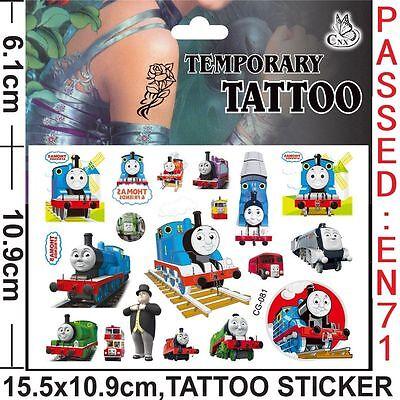 3 X Thomas The Tank Engine Cartoon Temporary Body Tattoo sheets - party bags ()