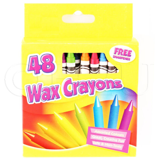 48 Wax Crayons Set Free Sharpener Assorted Different Colours Arts Kids Drawing
