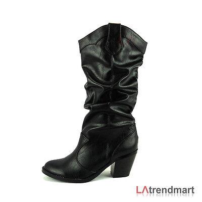 Women Mid Calf Western Cowgirl Cowboy Boots Stacked Heel Soda Shoe Lode - Black Cowboy Mid Calf Boot
