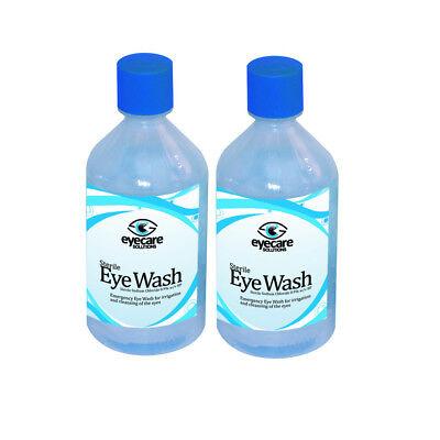 2x 500ml Sterile Saline Eye Wound Wash Solution Bottle First Aid Eyewash Clean