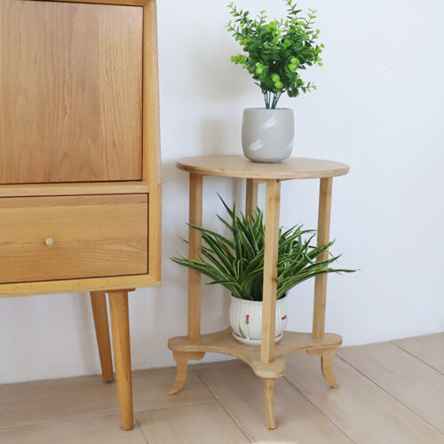 2 Tiered Wooden End Table Round
