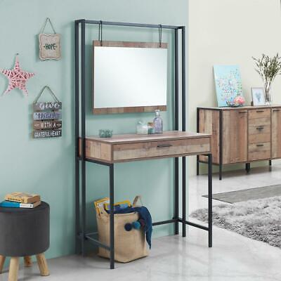Stretton Bedroom Dressing Vanity Makeup Table Mirror & Drawer Rustic Oak Effect for sale  Shipping to United States