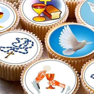 24 Edible cake toppers decorations  ND2 1st First holy communion Baptism (1st Communion Cake Decorations)