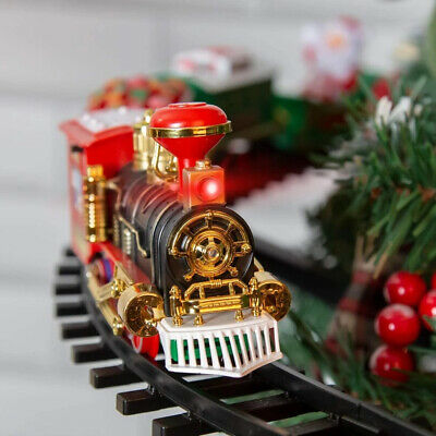 Electric Christmas Tree Train Set Sound & Lights Battery Operated 89 cm Gift Toy