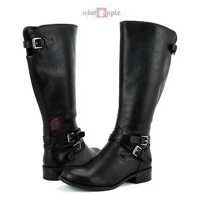 knee high riding equestrian low heel boots