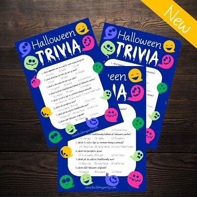 Halloween Trivia Quiz - Cute Ghost - Kids or Adults Party Game - 20 Player!
