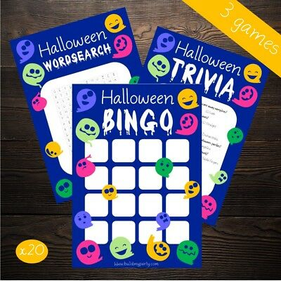 Halloween 3 Game Multipack - 20 Player - Bingo Wordsearch Trivia - Party Costume - Word Search Games Halloween